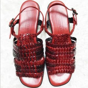 VTG Trotters Red Woven Leather Square Toe Sling